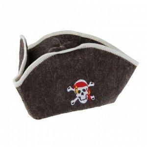 """Шапка для бани и сауны """"Пират"""" с вышивкой"""
