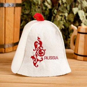 "Колпак для бани  шапка ""Russia"" белая"