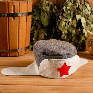 """Колпак для бани  шапка """"Колпак для бани  ушанка """", войлок, комбинированная"""