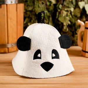 """Колпак для бани  шапка с детской термопечатью """"Панда"""" с ушками, войлок, 100% шерсть"""