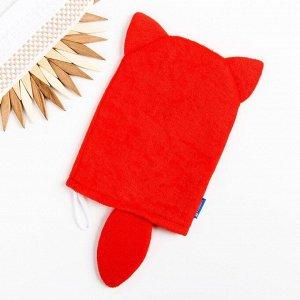 Мочалка детская для купания «Лисичка», варежка, из махры