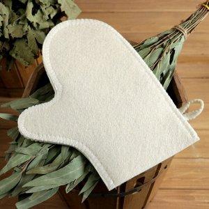 "Набор для бани ""Люблю баньку"" шапка, коврик, рукавица"