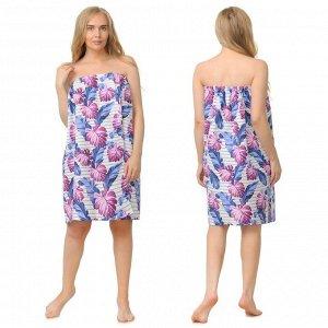 Накидка для сауны жен (75х150), Тропики фиолет ваф.полотно 160г/м, хл100%