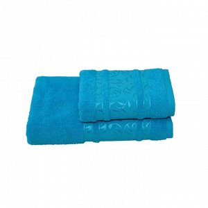 Полотенце махровое Флора 70х140 +/- 2 см, бирюзовый, хлопок 100%, 430г/м2