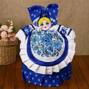 Грелка на чайник «Барыня», с фартуком, синяя, малая
