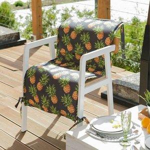 Подушка на уличное кресло «Этель» Ананасы, 50?100+2 см, репс с пропиткой ВМГО, 100% хлопок