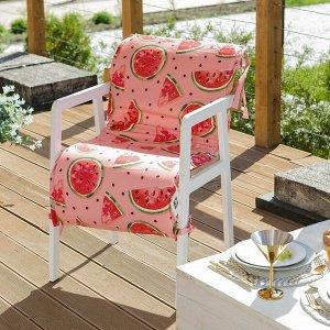 Подушка на уличное кресло «Этель» Арбузы, 50?100+2 см, репс с пропиткой ВМГО, 100% хлопок