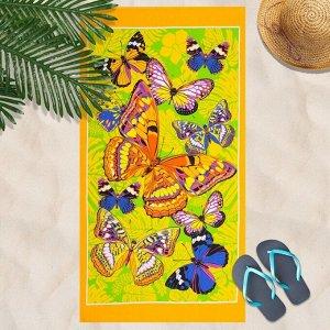 Вафельное полотенце Бабочки 80х150 см, желтый, хлопок 100 %, 160г/м?