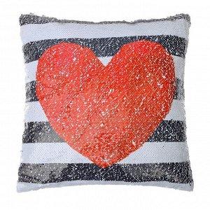 Наволочка Этель «Сердце», 40 ? 40 см, декоративная, с пайетками, велюр, п/э 100 %