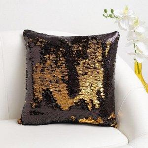 Наволочка декоративная Хамелеон 37?37 см, цвет золото - глянцевый чёрный, пайетки, 100%п/э
