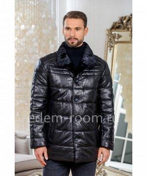 Утеплённая кожаная куртка для зимыАртикул: W-1786-75-CH-N