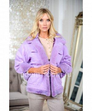 Куртка джинсовая с норкой фиолетоваяАртикул: DJP-123-65-SR-N