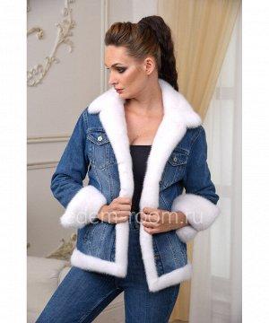 Джинсовая куртка с мехом белой норки Артикул: AL-123-70-BL-N