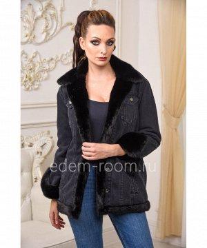 Джинсовая куртка с мехом норки на прохладную погодуАртикул: AL-123-70-CH-N