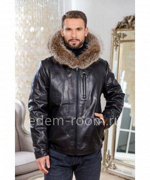 Зимняя мужская кожаная куртка -бомберАртикул: C-9051-2-70-CH-EN