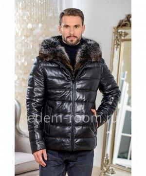 Зимняя кожаная куртка с меховым капюшономАртикул: W-1829-2-75-CH-EN