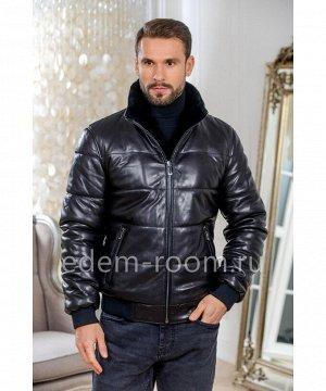 Зимняя кожаная куртка на резинкеАртикул: I-83266-70-CH