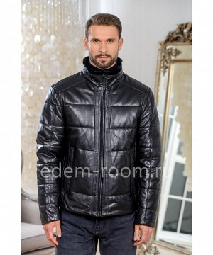 Зимняя кожаная куртка на молнииАртикул: W-9020-70-CH
