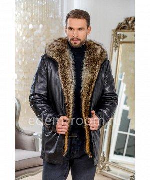 Зимняя кожаная куртка  с мехом енотаАртикул: I-8395-2-80-CH-EN