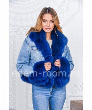 Женская куртка - джинсовка с мехомАртикул: DjP-118-SI