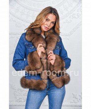 Джинсовая куртка украшенная песцом Артикул: Djp-118-TT