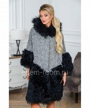 Шерстяное пальто с мехом барашкаАртикул: M-4678-BR