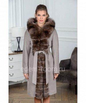 Шерстяное пальто с капюшоном и мехомАртикул: G-2306-100-BG-P