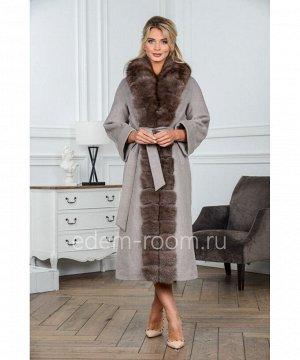 Удлинённое пальто с мехом песцаАртикул: G-2301-120-SR-P