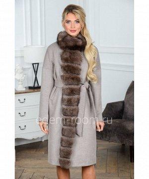 Пальто из шерсти украшенное мехом песцаАртикул: G-2308-105-SR-P