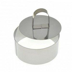 """Кулинарная форма """"Круг"""" с крышкой-прессом, 10х4см"""