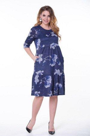 Платье Любовь №14.Цвет:синий/горох
