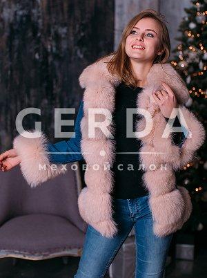 """Джинсовая куртка с мехом 65 см """"Денни"""" пудра пудра"""
