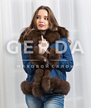 """Джинсовка с мехом песца """"Денни"""" соболь синий/соболь"""