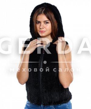 """Норковая жилетка с капюшоном """"Элла"""" черная черный"""