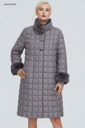 Зимнее женское пальто с воротником-стойкой, цвет серый