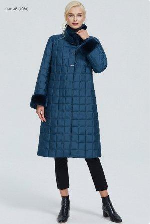 Зимнее женское пальто с воротником-стойкой, цвет синий