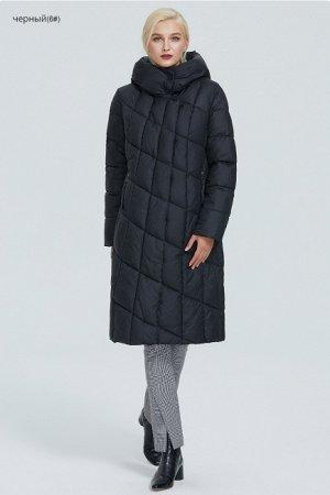Зимний женский пуховик с ассиметричной застежкой и капюшоном, цвет черный