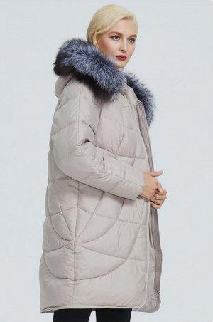 Зимняя женская удлиненная куртка с капюшоном и опушкой из меха песца, цвет бежевый