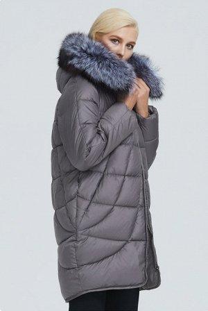 Зимняя женская удлиненная куртка с капюшоном и опушкой из меха чернобурки, цвет серый