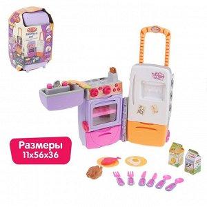 """Игровой модуль """"Кухня-чемодан"""" на колёсиках, складной: плита, холодильник, раковина, 15 предметов, световые и звуковые эффекты, высота 53 см"""