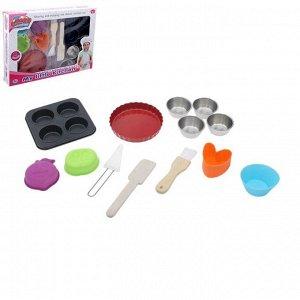 """Набор металлической посуды """"Пекарь"""" с силиконовыми формочками, 13 предметов"""