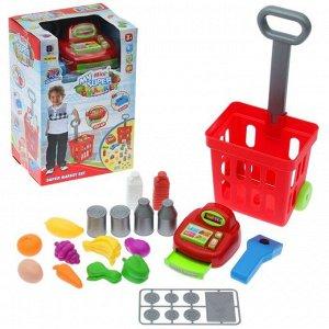 Игровой набор «Магазин» с продуктовой тележкой, 27 предметов, световые и звуковые эффекты, высота 47 см