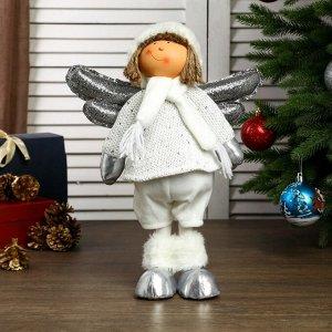 """Кукла интерьерная """"Ангелочек Веня в белом наряде, в серебристых сапожках"""" 54х13х19 см"""