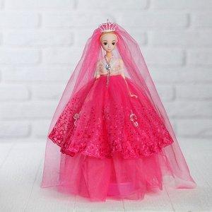 Кукла на подставке «Принцесса», музыкальная, розовое платье, накидка