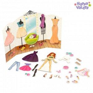Магнитный набор с куклой, фоном и наклейками «Высокая мода»
