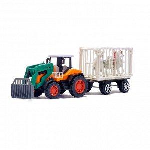 Трактор инерционный «Фермер», с прицепом и животными, МИКС