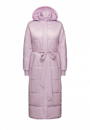 Утеплённое стёганое пальто с поясом