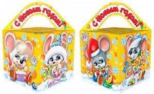 """Новогодняя коробка для конфет и подарков (куб) """"Мышкина мечта"""" с анимацией"""