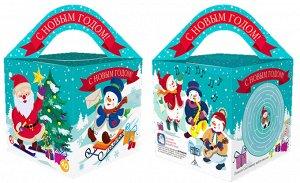 """Новогодняя коробка для конфет и подарков (куб) """"Нотки"""" с анимацией и игрой"""