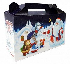 """Новогодняя коробка для конфет и подарков """"Иней"""" с игрой"""
